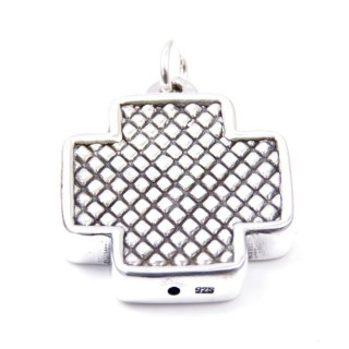 34048 CROSS SHAPED 30 X 26 MM STERLING SILVER PENDANT