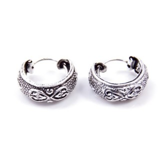 33991 SILVER 925 BALI HOOP EARRINGS 15 X 6 MM