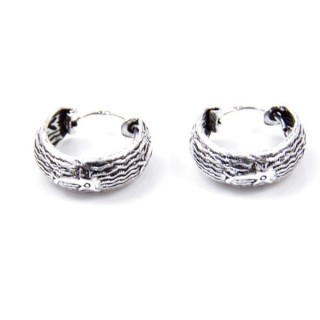 33994 SILVER 925 BALI HOOP EARRINGS 15 X 6 MM