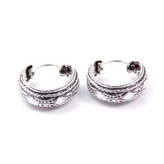 33997 SILVER 925 BALI HOOP EARRINGS 15 X 6 MM