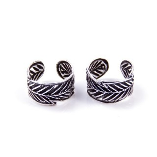 55018 STERLING SILVER BALI DESIGN 9 X 5 MM CUFF EARRINGS