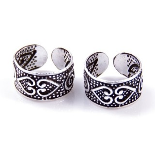55021 STERLING SILVER BALI DESIGN 10 X 7 MM CUFF EARRINGS
