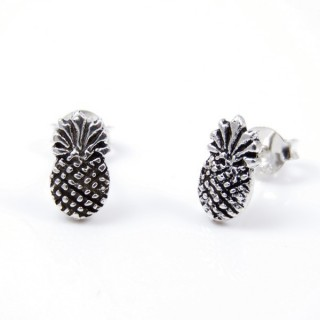 55435 STERLING SILVER EARRINGS PINEAPPLE 10 X 6 MM