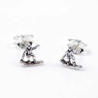 34106 STERLING SILVER EARRINGS SURFER 7 X 7 MM
