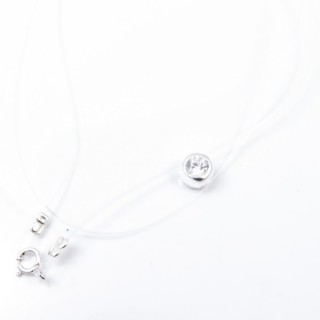 52003 TRANSPARENT SILICON NECKLACE WITH 7 MM SILVER PENDANT