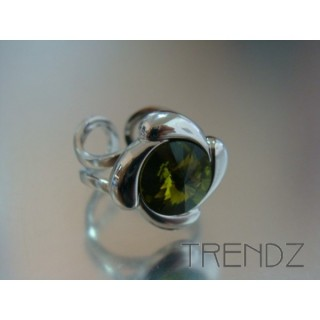 14101 METAL RING WITH GLASS STONE IN OLIVINE COLOUR