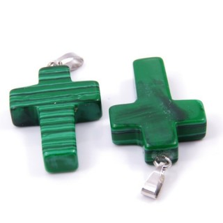 33742-06 PACK OF 2 CROSS SHAPED 25 X 18 MM STONE PENDANTS IN SYNTHETIC MALACHITE