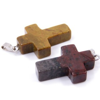 33742-35 PACK OF 2 CROSS SHAPED 25 X 18 MM STONE PENDANTS IN INDIAN AGATE