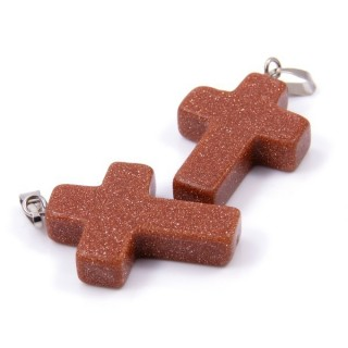 33742-10 PACK OF 2 CROSS SHAPED 25 X 18 MM STONE PENDANTS IN GOLD SANDSTONE
