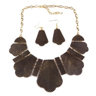 32374-06 METAL FASHION NECKLACE WITH OR WITHOUT EARRINGS