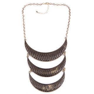 32374-10 METAL FASHION NECKLACE WITH OR WITHOUT EARRINGS