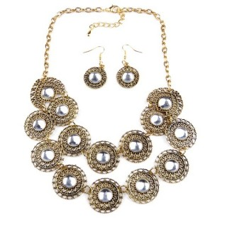 32374-11 METAL FASHION NECKLACE WITH OR WITHOUT EARRINGS