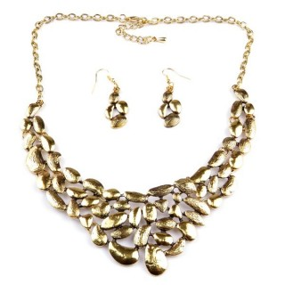 32374-12 METAL FASHION NECKLACE WITH OR WITHOUT EARRINGS