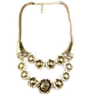 32374-15 METAL FASHION NECKLACE WITH OR WITHOUT EARRINGS