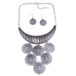 32374-26 METAL FASHION NECKLACE WITH OR WITHOUT EARRINGS
