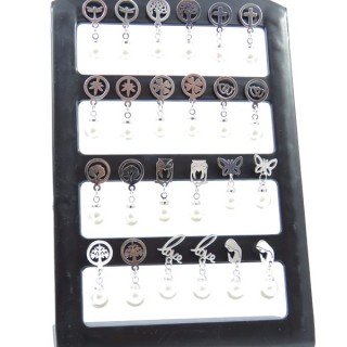 33727 STAND OF 12 PAIRS OF ASSORTED STAINLESS STEEL EARRINGS WITH SYNTHETIC 8 MM PEARL