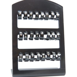 33728 STAND OF 12 PAIRS OF ASSORTED DESIGN BLACK COLOURED STEEL 15 MM HOOP EARRINGS