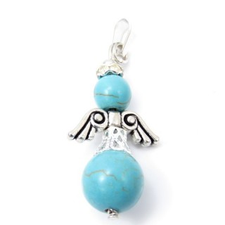 33845-03 PACK OF 3 METAL ANGEL SHAPED 37 X 12 MM PENDANTS WITH STONE IN TURQUOISE