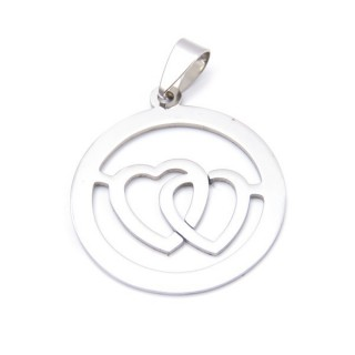 33723-16 STAINLESS STEEL DOUBLE HEART PENDANT  31 MM