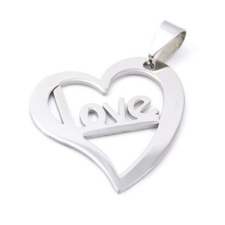 33723-23 STAINLESS STEEL HEART PENDANT 30 X 27 MM
