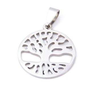 33723-29 STAINLESS STEEL TREE OF LIFE PENDANT 25 MM
