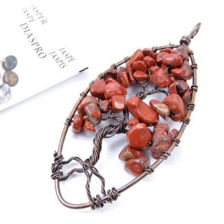 33703-01 TREE OF LIFE WIRE PENDANT 93 X 39 WITH STONES IN RED JASPER