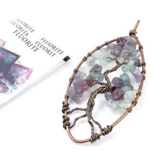 33703-06 TREE OF LIFE WIRE PENDANT 93 X 39 WITH STONES IN FLUORITE