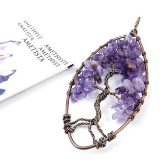 33703-07 TREE OF LIFE WIRE PENDANT 93 X 39 WITH STONES IN AMETHYST
