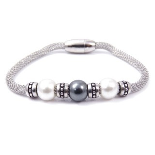 36920 STEEL BRACELET WITH PLASTIC PEARLS AND MAGNETIC CLASP