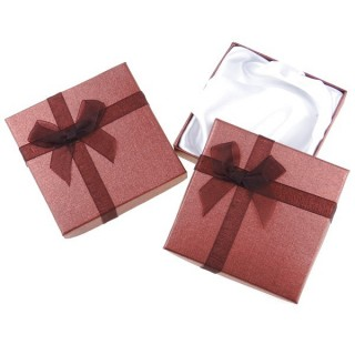 18826-03 PACK OF 12 GIFT BOXES FOR BRACELETS 9 X 9 CM IN DARK BROWN