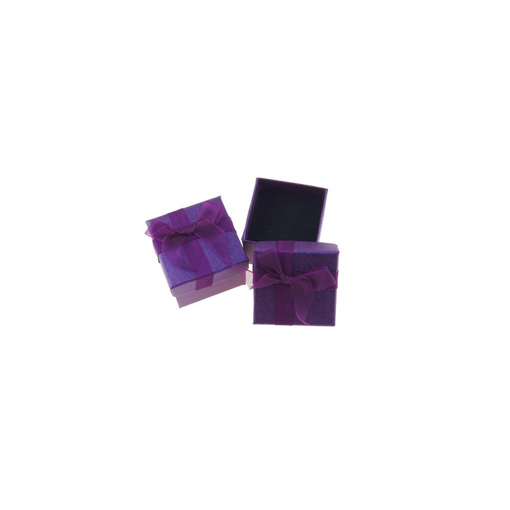 18820-02 PACK OF 24 GIFT BOXES FOR RINGS/EARRINGS 5 X 5 CM IN PURPLE