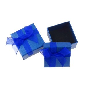 18820-06 PACK OF 24 GIFT BOXES FOR RINGS/EARRINGS 5 X 5 CM IN BLUE