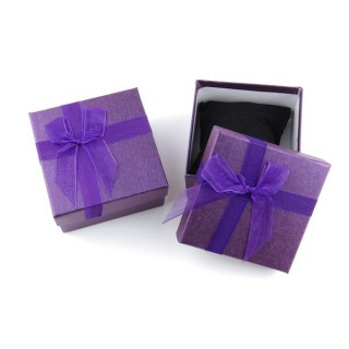 18825-02 PACK OF 6 GIFT BOXES FOR BRACELETS 9 X 9 X 5 CM IN PURPLE