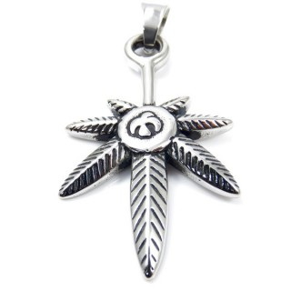 35136 LEAF SHAPED STAINLESS STEEL 52 X 30 MM PENDANT