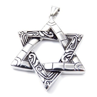 35149 STAINLESS STEEL STAR OF DAVID 57 X 45 MM PENDANT