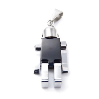 35172 ROBOT SHAPED STAINLESS STEEL 37 X 17 MM PENDANT