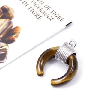 35013-09 FASHION JEWELLERY 20 MM PENDANT WITH STONE IN TIGER'S EYE