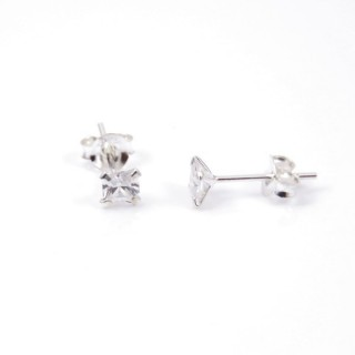 51222 STERLING SILVER POST EARRINGS WITH SQUARE 4 MM CRYSTAL