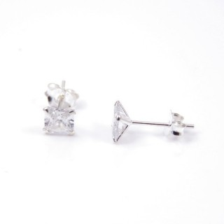 34120 STERLING SILVER POST EARRINGS WITH SQUARE 5 MM CRYSTAL