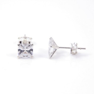 34121 STERLING SILVER POST EARRINGS WITH SQUARE 6 MM CRYSTAL
