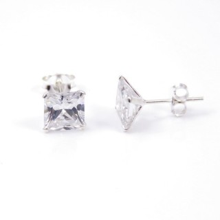 34122 STERLING SILVER POST EARRINGS WITH SQUARE 7 MM CRYSTAL