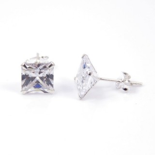 34123 STERLING SILVER POST EARRINGS WITH SQUARE 8 MM CRYSTAL