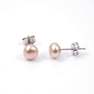 35001-02 STERLING SILVER + CULTIVATED PEARL EARRINGS 6 - 6.5 MM
