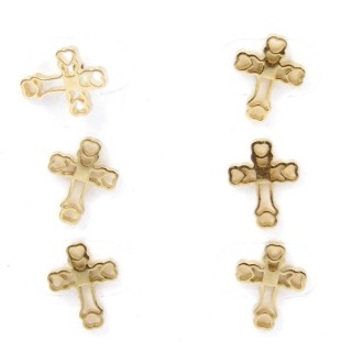 31203-23 PACK OF 3 PAIRS OF GOLDEN STAINLESS STEEL EARRINGS