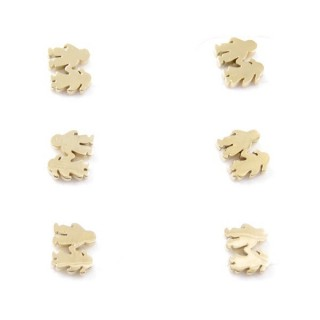 31203-37 PACK OF 3 PAIRS OF GOLDEN STAINLESS STEEL EARRINGS