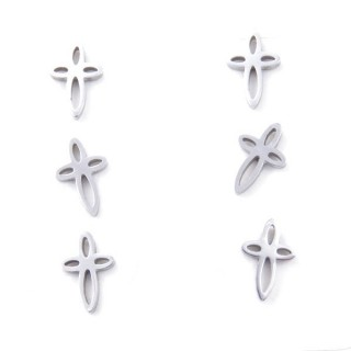 31202-79 PACK OF 3 PAIRS OF SILVER STAINLESS STEEL EARRINGS