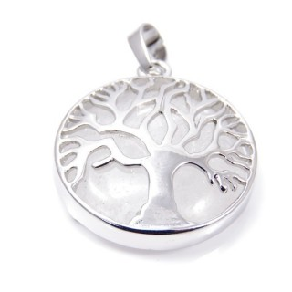 35014-01 FASHION JEWELLERY TREE OF LIFE 27 MM PENDANT WITH STONE IN WHITE QUARTZ