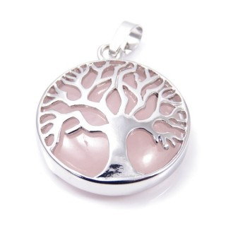 35014-02 FASHION JEWELLERY TREE OF LIFE 27 MM PENDANT WITH STONE IN ROSE QUARTZ