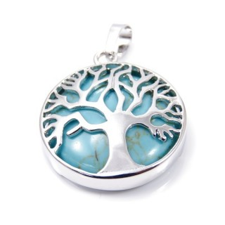35014-03 FASHION JEWELLERY TREE OF LIFE 27 MM PENDANT WITH STONE IN TURQUOISE