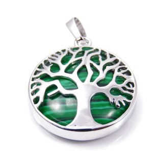 35014-06 FASHION JEWELLERY TREE OF LIFE 27 MM PENDANT WITH STONE IN MALAQUITE
